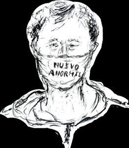 Self portrait with mask / Autoretrato con máscarilla Pencil on paper (6 cm by 8 cm) / Lapiz en papel